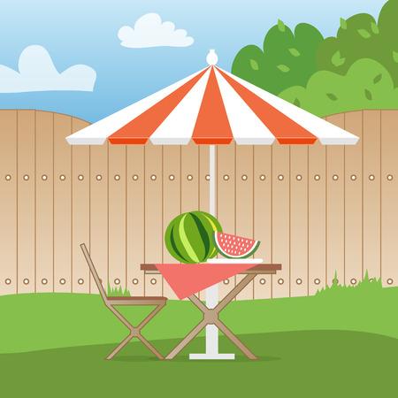 ricreazione: Estate picnic sul cortile. Ricreazione all'aperto. Tavolo con sedie, ombrellone e anguria. Illustrazione vettoriale in stile piano e sfondo blu