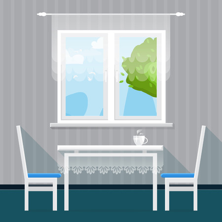 dining table: Grey Interior Dining Room. Dining table with cup and chairs. Furniture. Kitchen. Home Interior Objects. Style vector illustration Illustration