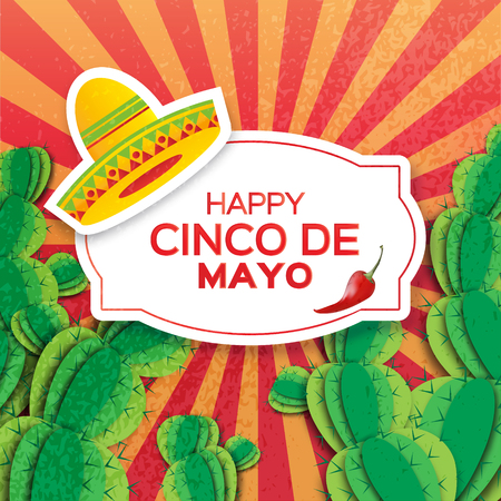 jalapeno: Mexican sombrero hat, succulents and red chili pepper jalapeno. Mexico, Carnival. Orange background with cactus. Vector illustration.