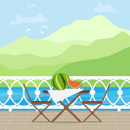 patio chair: House Patio With Garden Chairs and Table on the terrace balcony. View over the lake.  Mountain landscape. Picnic with waternelon. Flat style vector illustration. Illustration