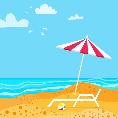 chaise lounge: Chaise Lounge with Parasol umbrella. Ocean. Summer resort vacation background. Water beach vacation. Vector Design illustration. Illustration