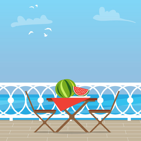 balcony view: House Patio With Garden Chairs and Table on the terrace balcony. View over the sea. Water landscape. Picnic with waternelon. Flat style vector illustration.