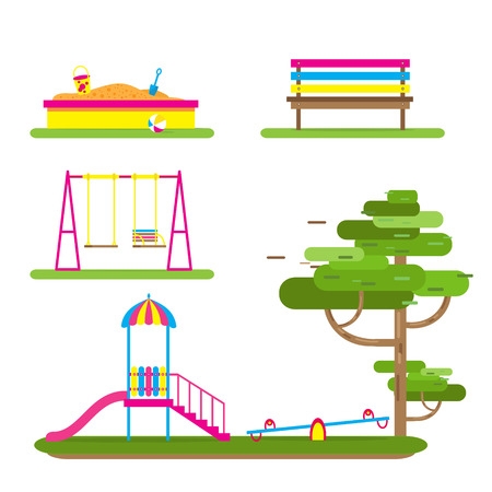 teeter: Childrens playground with Swings, slide, sandbox, bench, teeter board. Kids playground. School Childrens park. Buildings for city construction. Kindergarten Vector flat design illustration Illustration