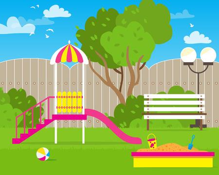 schoolyard: Colorful Childrens playground with Swings, slide, sandbox, bench, teeter board. Kids playground. School Childrens park. Buildings for city construction. Kindergarten Vector flat design illustration Illustration