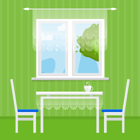 dining table and chairs: Green Interior Dining Room. Dining table with cup and chairs. Furniture. Kitchen. Home Interior Objects. Style vector illustration