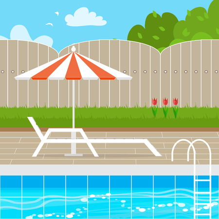 chaise lounge: Chaise Lounge with Parasol umbrella near the Swimming pool. House backyard.  Summer resort vacation background. Water beach vacation. Vector Design illustration.