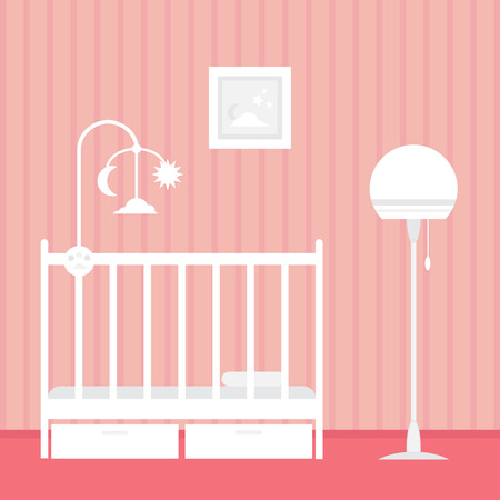 desk toy: Baby room with furniture. Nursery interior. Style vector illustration.