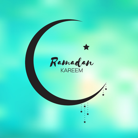 crescent: Neon blue Ramadan Kareem celebration greeting card. Stars and crescent moon. Holy month of muslim. Symbol of Islam. Moon Ramadan. Vector illustration.
