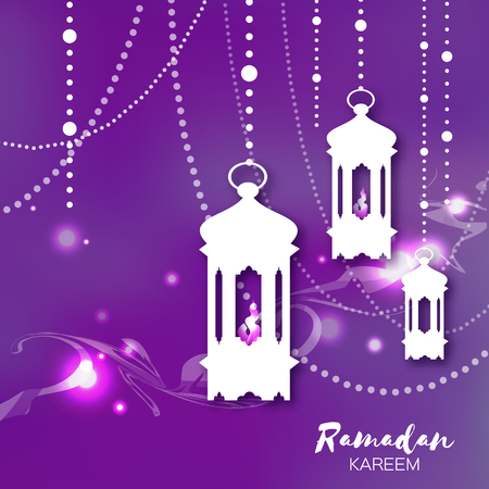 iftar: Purple Ramadan Kareem celebration greeting card. Hanging arabic lamps, stars and crescent moon. Holy month of muslim. Symbol of Islam. Moon Ramadan. Vector illustration.