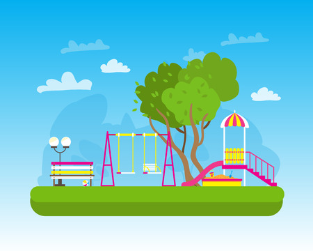 schoolyard: Childrens playground with Swings, slide, sandbox, bench, teeter board. Kids playground. School Childrens park. Buildings for city construction. Kindergarten Vector flat design illustration Illustration