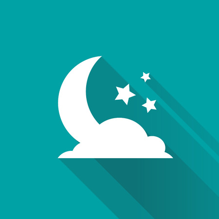islam moon: Stars,cloud and crescent on blue background. Symbol of Islam. Moon Ramadan. Vector illustration.
