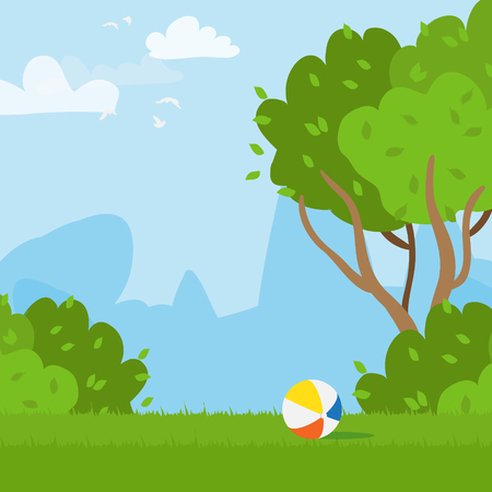 ball park: Rubber ball and outdoor park. Grass field. Playing ball. Vector  illustrations. Illustration
