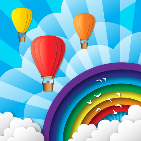 aerostat: Origami Colorful hot air balloons on the blue sky with clouds and rainbow, birds. Paper Balloons fly to sky. Vector applique illustrations.