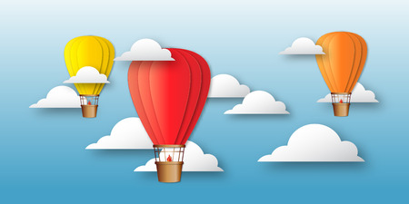 aerostat: Origami Colorful hot air balloons on the blue sky with clouds. Paper Balloons fly to sky. Vector applique illustrations.