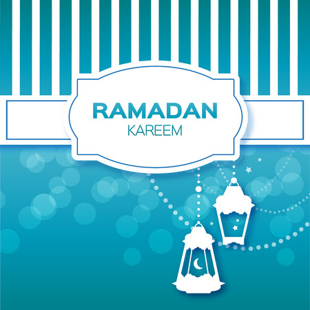 islam moon: Blue Stripes Ramadan Kareem celebration greeting card. Hanging arabic lamps, stars and crescent moon. Holy month of muslim. Symbol of Islam. Moon Ramadan. Vector illustration.