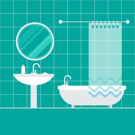 Bathroom interior. Furniture. Home Interior Objects - bath, mirror, wash basin. Modern trendy design. Vector illustration.