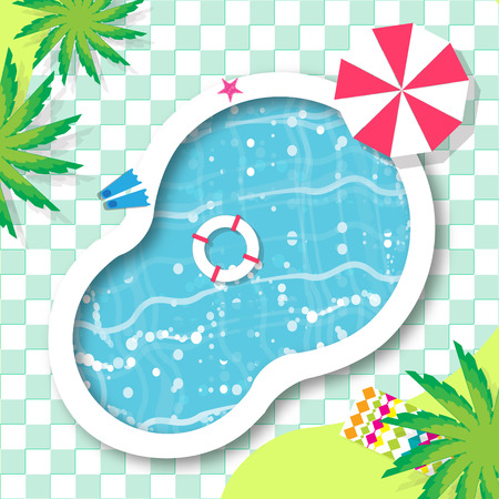Top View Swimming pool. Rest time. Summer. Water beach vacation. Pool with clear water. Vector design illustration 矢量图像