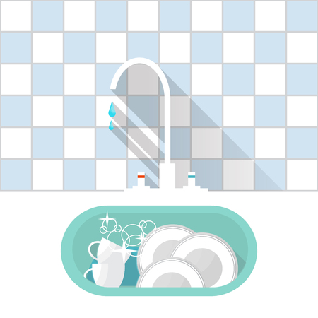 kitchen sink: Kitchen sink with clear kitchenware. Vector illustration