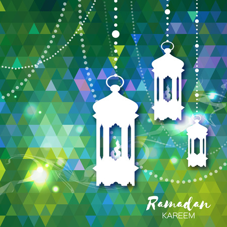 islam moon: Polygonal green Ramadan Kareem celebration greeting card. Triangle Hanging arabic lamps, stars and crescent moon. Holy month of muslim. Symbol of Islam. Moon Ramadan. Vector illustration.