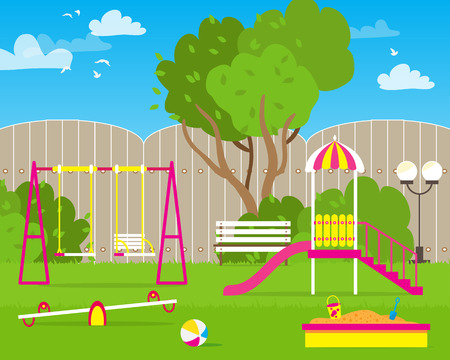 teeter: Colorful Childrens playground with Swings, slide, sandbox, bench, teeter board. Kids playground. School Childrens park. Buildings for city construction. Kindergarten Vector flat design illustration Illustration