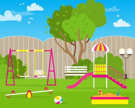 colorful slide: Colorful Childrens playground with Swings, slide, sandbox, bench, teeter board. Kids playground. School Childrens park. Buildings for city construction. Kindergarten Vector flat design illustration Illustration
