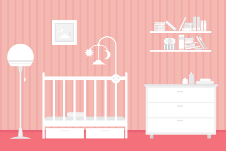 Espace bébé avec des meubles. intérieur Nursery. vecteur style illustration. Vecteurs