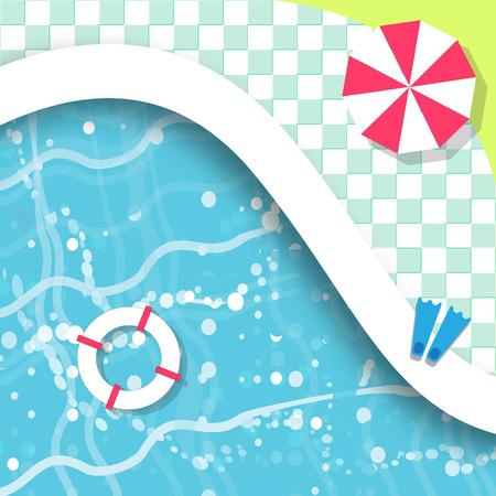 トップ ビューのスイミング プール。残り時間。夏。水ビーチでの休暇。澄んだ水とプール。ベクトル設計図
