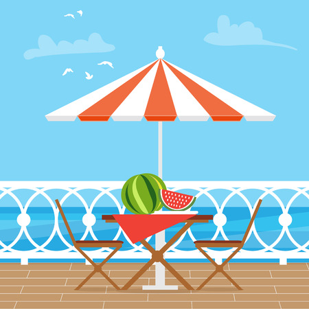 patio furniture: House Patio With Garden Chairs and Table with umbrella on the terrace balcony. View over the sea. Water landscape. Picnic with waternelon. Flat style vector illustration.