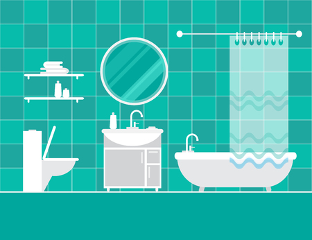 basin: Bathroom interior. Furniture. Home Interior Objects - bath, mirror, wash basin. Modern trendy design. Vector illustration.