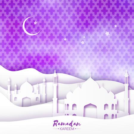 sand dune: Purple Mosque Ramadan Kareem Greeting card with arabic arabesque pattern. Origami Desert landscape. Crescent Moon. Holy month of muslim. Symbol of Islam. Applique Design Vector illustration.