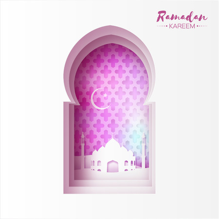 moon  desert: Purple Origami Mosque Window Ramadan Kareem Greeting card with arabic arabesque pattern. Crescent Moon. Desert landscape. Holy month of muslim. Symbol of Islam. Applique Vector illustration.
