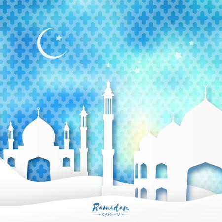 sand dune: Blue Mosque Ramadan Kareem Greeting card with arabic arabesque pattern. Origami Desert landscape. Crescent Moon. Holy month of muslim. Symbol of Islam. Applique Design Vector illustration.