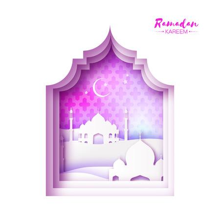 sand dune: Pink White Origami Mosque Window Ramadan Kareem Greeting card with arabic arabesque pattern.Desert Landscape.Holy month of muslim.Symbol of Islam.Crescent Moon Illustration