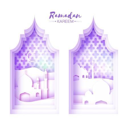 sand dune: Purple White Origami Mosque Window Ramadan Kareem Greeting card with arabic arabesque pattern.Desert Landscape.Holy month of muslim.Symbol of Islam.Crescent Moon