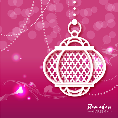 Pink White Ramadan Kareem celebration greeting card with origami hanging arabic lamp. Paper Lantern. Holy month of muslim. Applique vector illustration. 向量圖像
