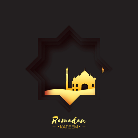 sand dune: Black Gold Origami Mosque Star Window Ramadan Kareem Greeting card. Holy month of muslim. Symbol of Islam.  Applique Vector illustration.