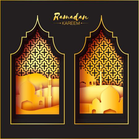 sand dune: Gold Black Origami Mosque Window Ramadan Kareem Greeting card with arabic arabesque pattern. Golden metal Desert Landscape. Holy month of muslim. Symbol of Islam. Applique Vector illustration.