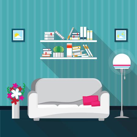 interior design home: Living room Interior with sofa, bookshelves. Furniture set. Home design. Modern flat illustration for web site, print, poster, presentation, infographic. Illustration