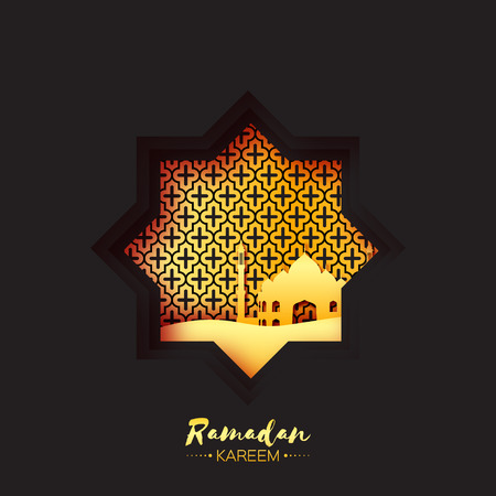 sand dune: Black Gold Origami Mosque Star Window Ramadan Kareem Greeting card  with arabic arabesque pattern. Holy month of muslim. Symbol of Islam.  Applique Vector illustration.