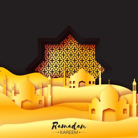sand dune: Gold Black Origami Mosque Star Window Ramadan Kareem Greeting card with arabic arabesque pattern. Golden metal Desert Landscape. Holy month of muslim. Symbol of Islam.