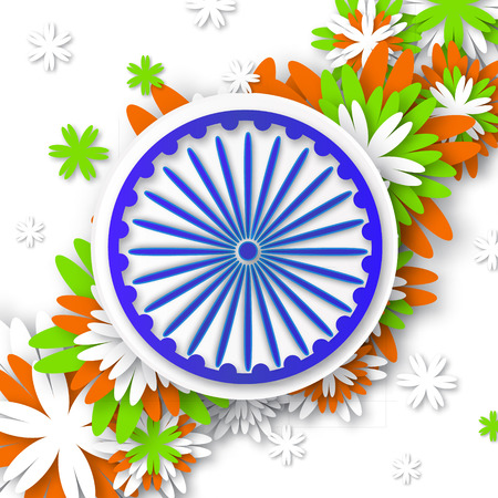 asoka: Origami Flower national tricolor Indian flag. Indian Independence Day. Celebration background with Ashoka wheel. Republic Day. Paper cut design concept for 15th August. Applique Vector Illustration
