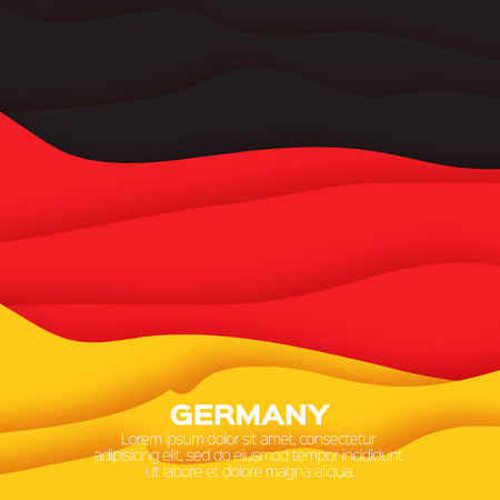 cur: Germany tricolor flag. Black. Red. Yellow. Origami paper cut vector illustration Illustration