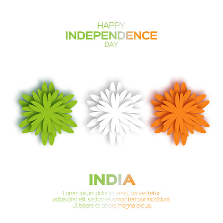applique flower: Origami Flower national tricolor Indian flag. Indian Independence Day. Celebration background. Republic Day. Paper cut design concept for 15th August. Applique Vector Illustration