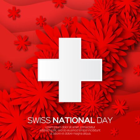 Abstract Swiss National day. Switzerland Independence Day. Origami Flower Swiss Flag International Day background. Paper cut Flyer design concept for 1 August. Applique Vector Illustration