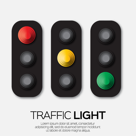 Traffic light. Origami Red, yellow, green lights - Go, wait or slow, stop. Paper cut International Traffic Light's Day. Applique Vector design illustrations.