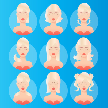 birthmark: Women hairstyles. Avatar. Young blonde woman with various hair style. Different Beautiful portrait women. Set of round icons with women. Vector design illustrations.