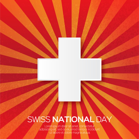 swiss flag: Abstract Swiss National day. Switzerland Independence Day. Origami Swiss Flag International Day with ray background. Paper cut design concept for 1 August. Applique Vector Illustration Illustration