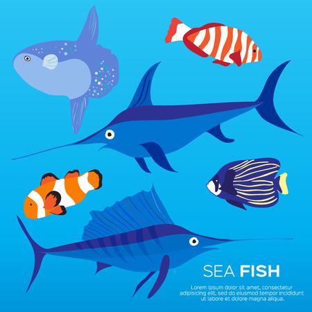 Under water Llfe. Exotic nature Fish set. Marine Vector Illustration