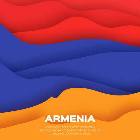 orange cut: Armenia tricolor flag. Red. Blue. Orange. Origami paper cut vector illustration