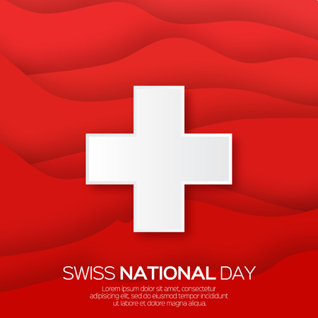 swiss flag: Abstract Swiss National day. Switzerland Independence Day. Origami Swiss Flag International Day background. Paper cut Flyer design concept for 1 August. Applique Vector Illustration